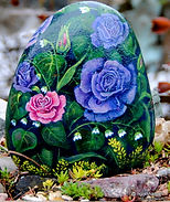 pink/blue rose original art,hand painted rocks,roses and lily of the valley,yard art,garden decor