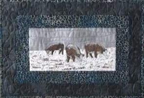farm animals, cattle,fiber art place mat