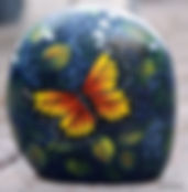 hand painted rocks,floral painting,monarch butterfly,yard art,garden art decor