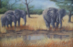 original acrylic elephants,watering hole,african elephant paintings,african wildlife art