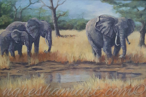 original painting african elephants at the watering hole african wildlife art