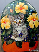 handpainted rocks,kittens,cats,pets painted on stone