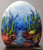 handpainted rocks,aquarium rocks,underwater scenes,original paintings,saltwater fish art