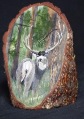 Muley Buck on wood by Debbie Barnett
