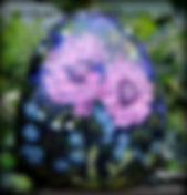 hand painted rocks,hydrangeas,original floral art,yard art
