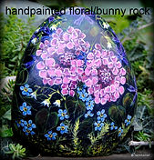 hand painted rocks,hydrangeas,original floral art,yard art