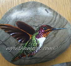hand painted rocks,hummingbird painting,original art,garden decor