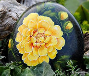 handpainted rocks,yellow chrysanthemum,yard art,unique gifts,perfect gifts for any occasion,original paintings for sale