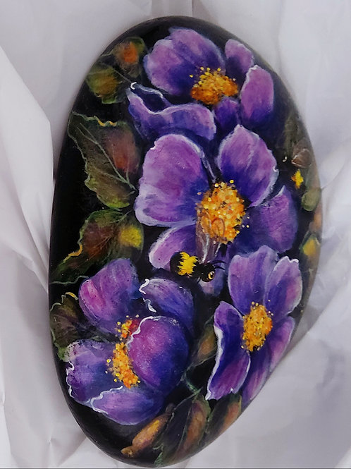 Hand painted rocks purple flowers and bumblebees