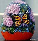 handpainted rocks,butterflies,hydrangea paintings,yard art garden decor