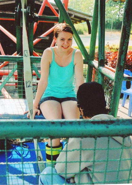 about to bungee jump, thailand