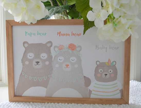 Three Bears Family Framed Print
