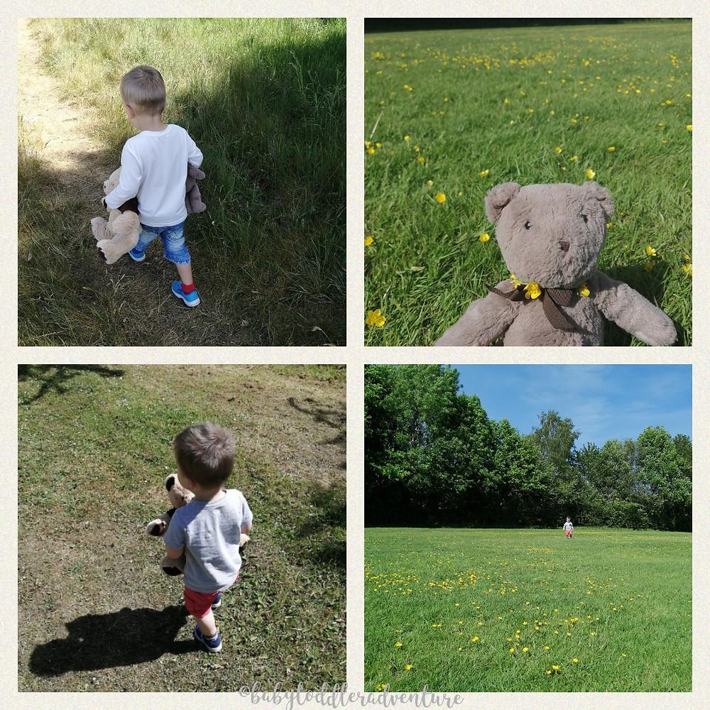 my children holding teddy bears walking