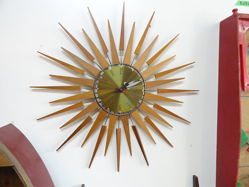 TEAK MID-CENTURY MODERN STARBURST CLOCK