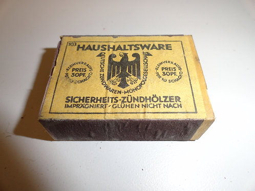 GERMAN MILITARY BOX WITH WOODEN MATCHES WW II World War Two