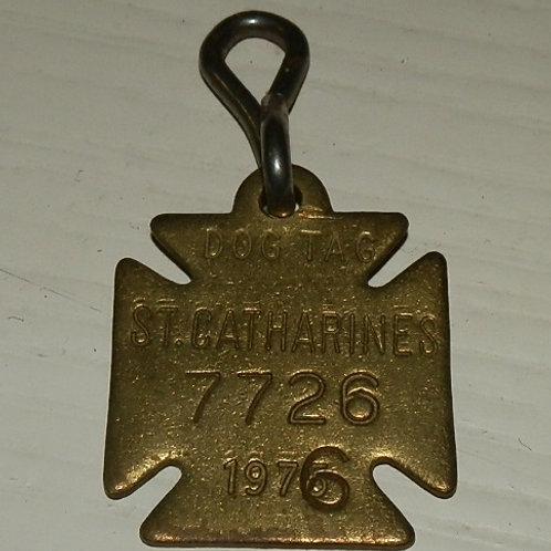 ST. CATHARINES METAL DOG TAG 1976
