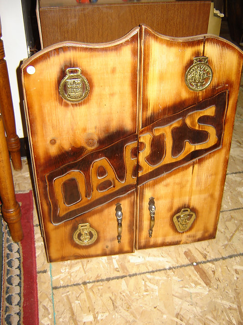 CUSTOM MADE DART BOARD CABINET U.K. BRITISH THEME
