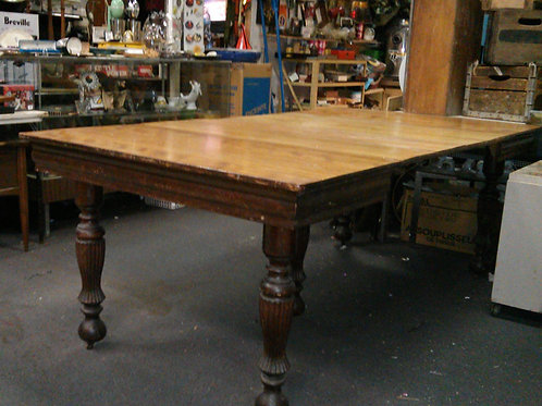 ANTIQUE HARVEST DINING TABLE 8' x 4' 5 legs 4 leaf