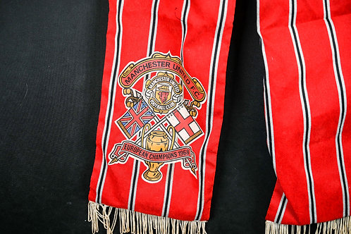 1968 MANCHESTER UNITED F.C. Rare Vintage Scarf European Champions