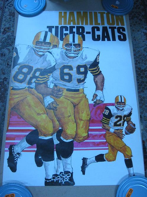 HAMILTON TIGER-CATS VINTAGE CFL FOOTBALL TEAM POSTER -