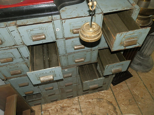 """20 METAL """"LIBRARY"""" CARD HOLDER CABINETS (4x5 wide)"""
