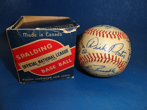 RARE SIGNED 1948 TORONTO MAPLE LEAFS MINOR LEAGUE TEAM BALL