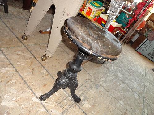 HEAVY CAST BASE HORSE HAIR PIANO STOOL