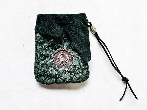 Leather Dice Bag ~ Howling Wolf