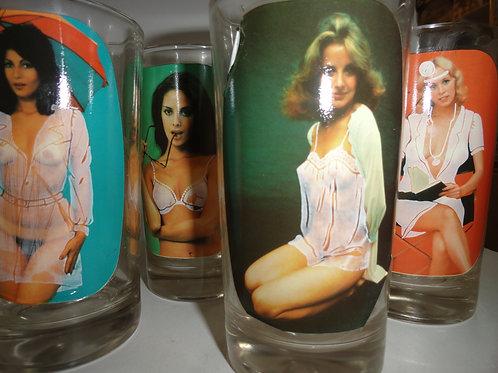 1970's STRIP TEASE GLASSWARE SET