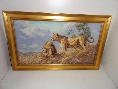 AFRICAN LIONS FRAMED WELL DONE HAND-STITCHED ARTWORK