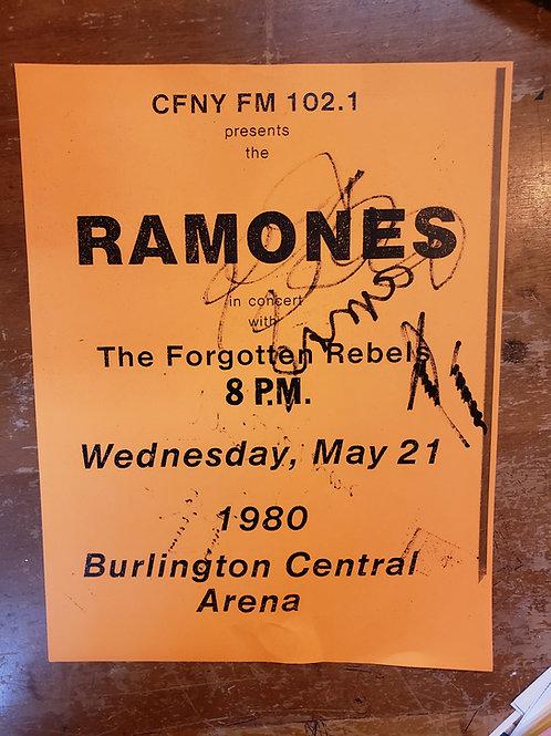1980 Autographed Ramones Concert Flyer Burlington, Ontario