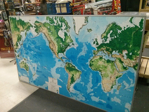 VERY LARGE WORLD MAP - MOUNTED ON WOOD **ON SALE**