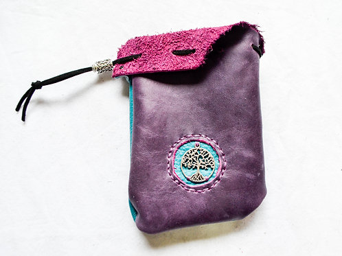 Leather Dice Bag ~ Purple & Teal