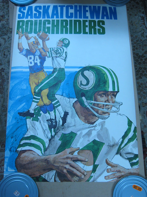 SASKATCHEWAN ROUGHRIDERS VINTAGE CFL FOOTBALL TEAM POSTER -