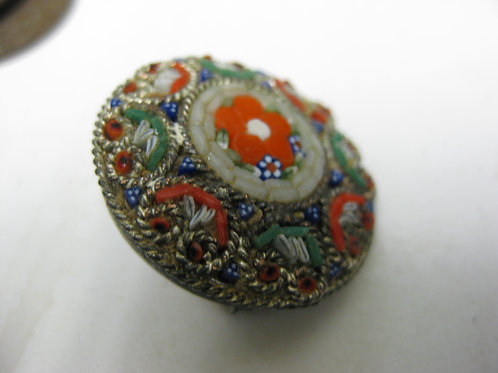 ANTIQUE GLASS BEADED BROOCH