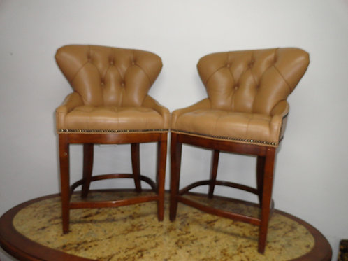 Franklin Tufted Leather Pub Style Chairs