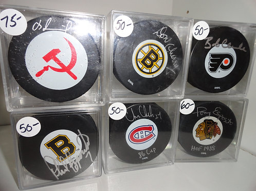 NHL HALL OF FAMERS - AUTOGRAPHED PUCKS w/COAs