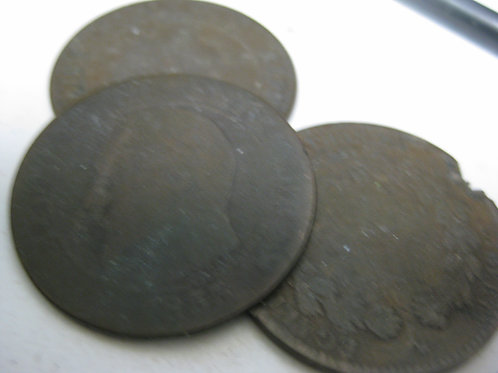 3 ANTIQUE FRENCH COINS 1855-1890's