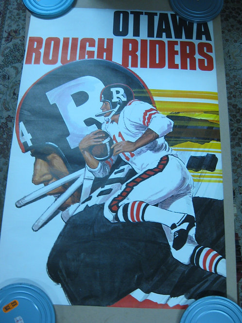 OTTAWA ROUGH RIDERS VINTAGE CFL FOOTBALL TEAM POSTER -