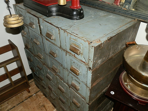 """12 (3x4) METAL """"LIBRARY"""" CARD HOLDER CABINETS"""