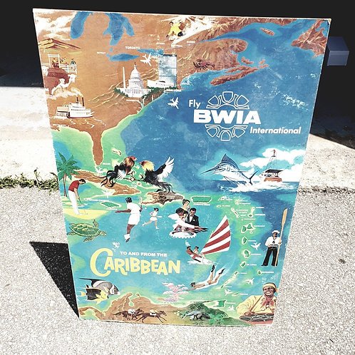 Vintage BWIA Caribbean Travel Agency Standup Ad