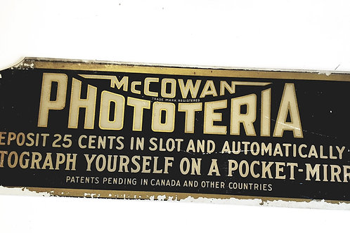 Mcowan  Phototeria ca. 1928 PHOTO BOOTH TOPPER