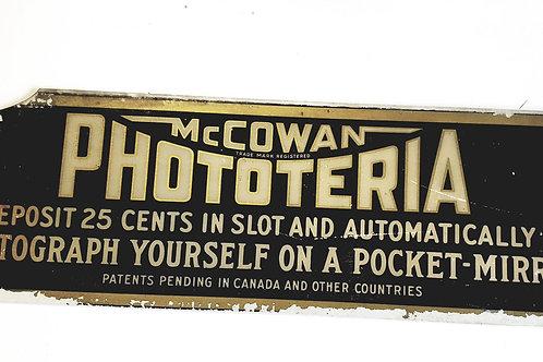 Mcowan  Phototeria ca. 1928 PHOTO BOOTH TOPPER