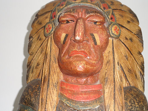 """CIGAR STORE INDIAN STATUE 58"""" High Wood"""