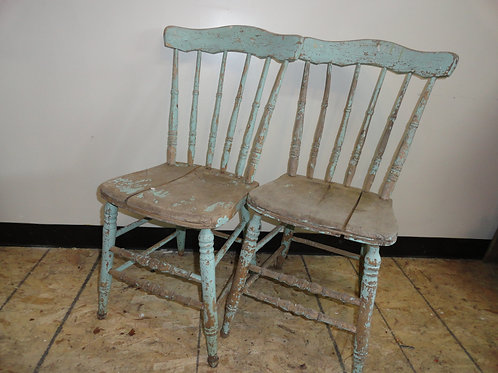SET OF 2 ANTIQUE RUSTIC CHAIRS