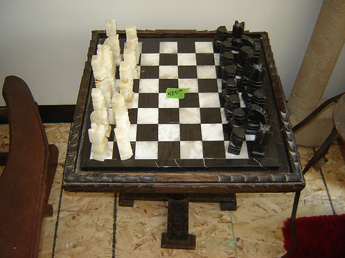 MARBLE CHESS BOARD & SET with CUSTOM WOOD TABLE