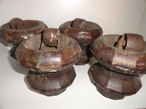 HEAVY DUTY ANTIQUE WOOD CASTERS
