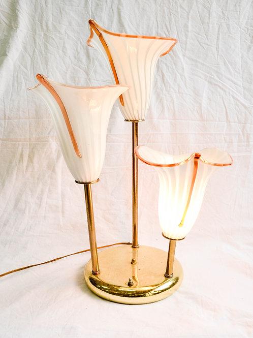 VINTAGE CALLA LILIES GLASS SHADE MCM LAMP