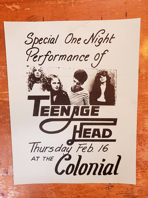 TEENAGE HEAD Early 80's COLONIAL TORONTO CONCERT FLYER POSTER