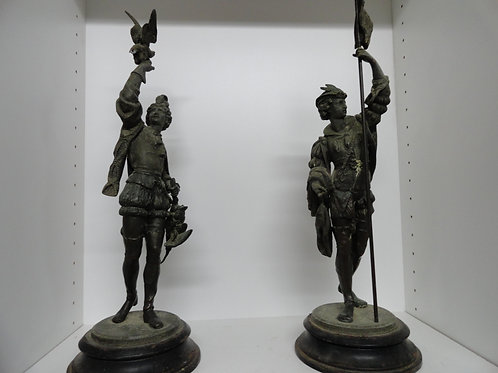 VICTORIAN EXPLORER SPELTER c. 1890's to 1910 STATUES